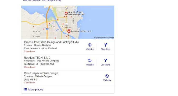 Utilizing Google's business page can render a map search result listing