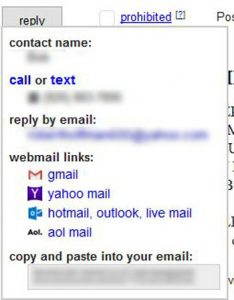 contact information to enter for craigslist advertising listing